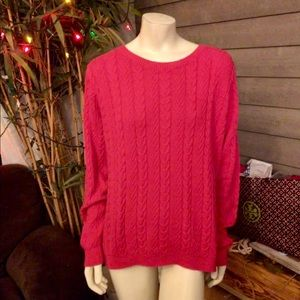 Lands' End Thick Red Cable Knit Sweater Size XL